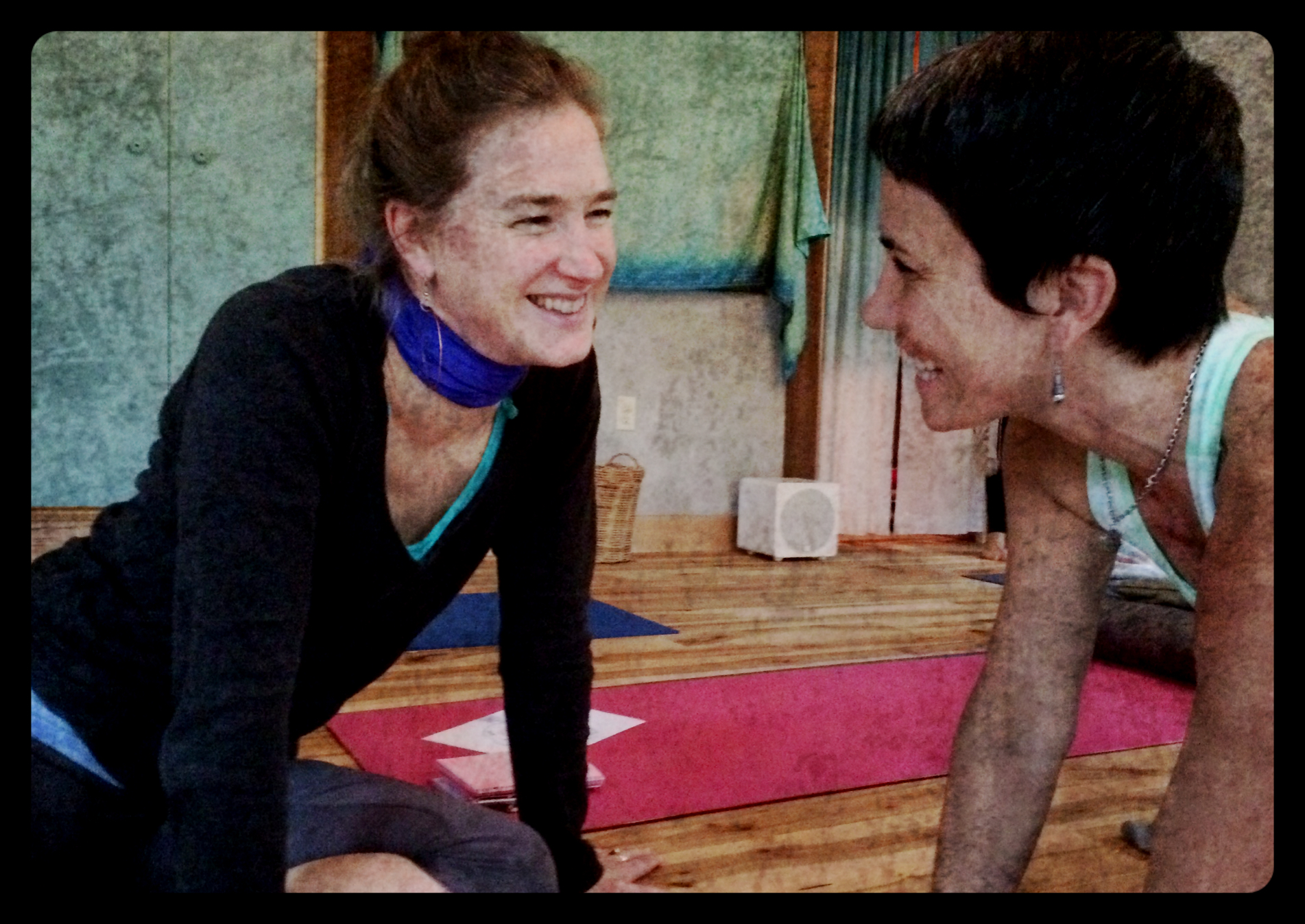 Kristin & Suzanne, two amazing souls and yoga teachers and graduated of Deva Daaru School of Yoga -- assisting at the Foundations retreat