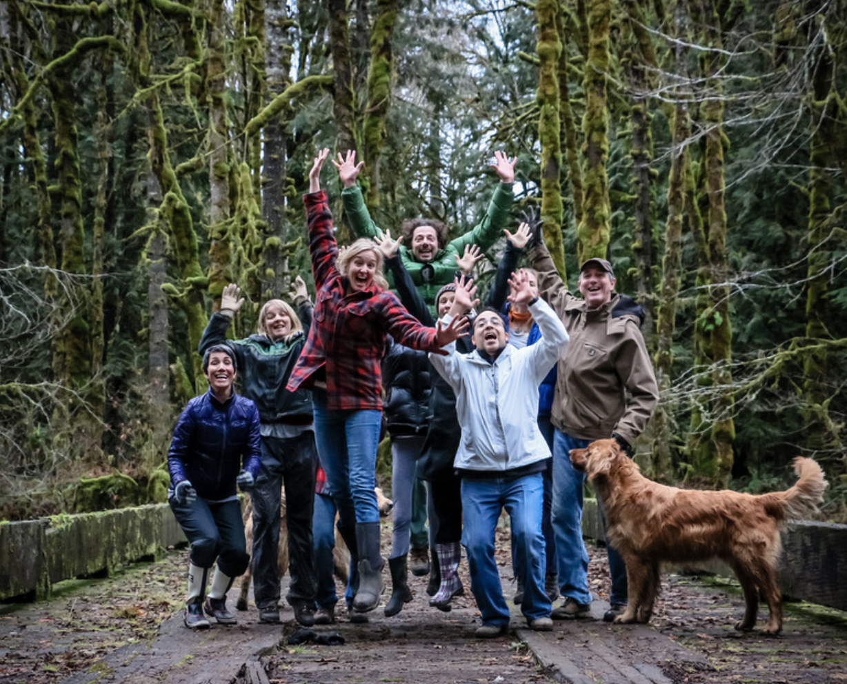 Taking a nature break (and silly photo opp) between sessions at a mid-winter retreat at the YogaFarm [photo: Raku Loren]