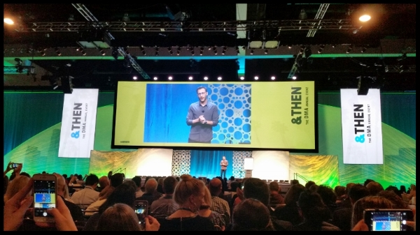 """Simon Sinek, the author of """"Start with Why,""""at the DMA conference in Los Angeles."""