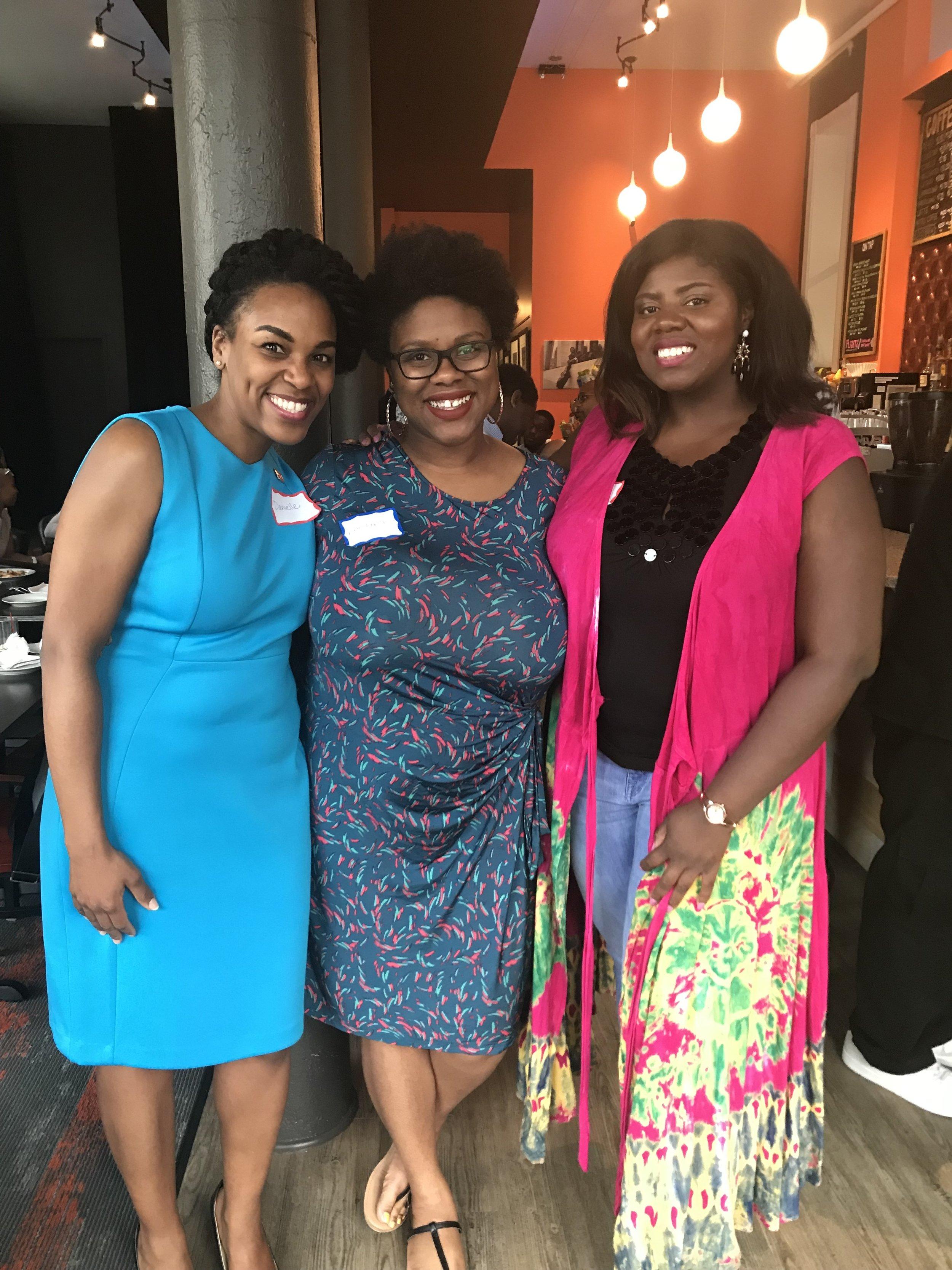 Danielle Jones, Keeyana Avery and Jenifer Moor at the recent PRSA Black PR Pros happy hour.