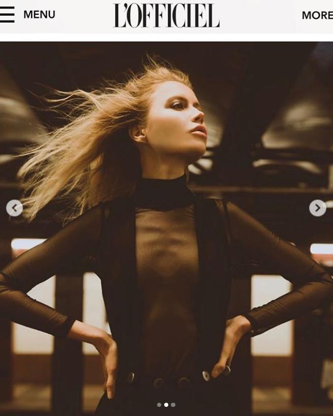 model in sheer black shirt by Marine Penvern, L'Officiel magazine;