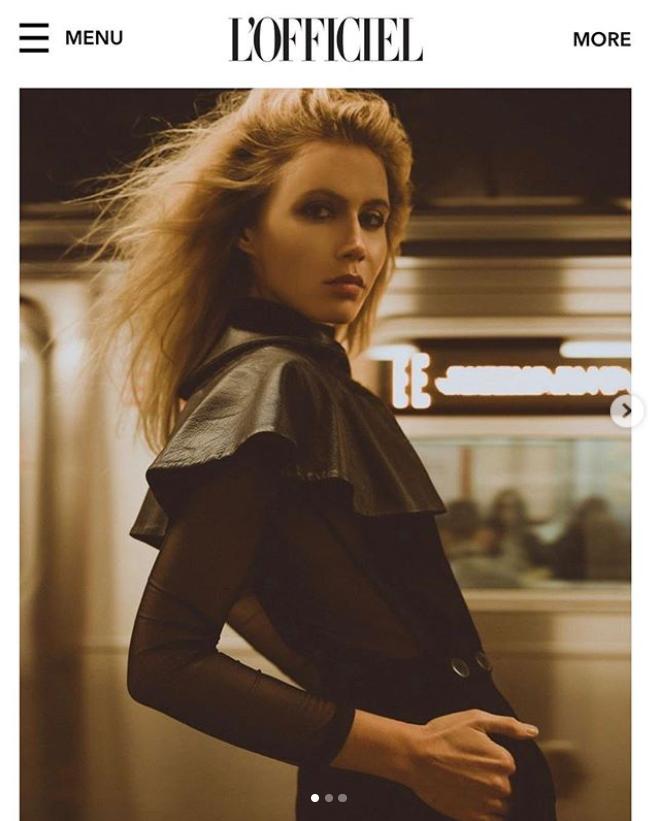 model inblack shirt with leather cape by Marine Penvern, L'Officiel magazine;