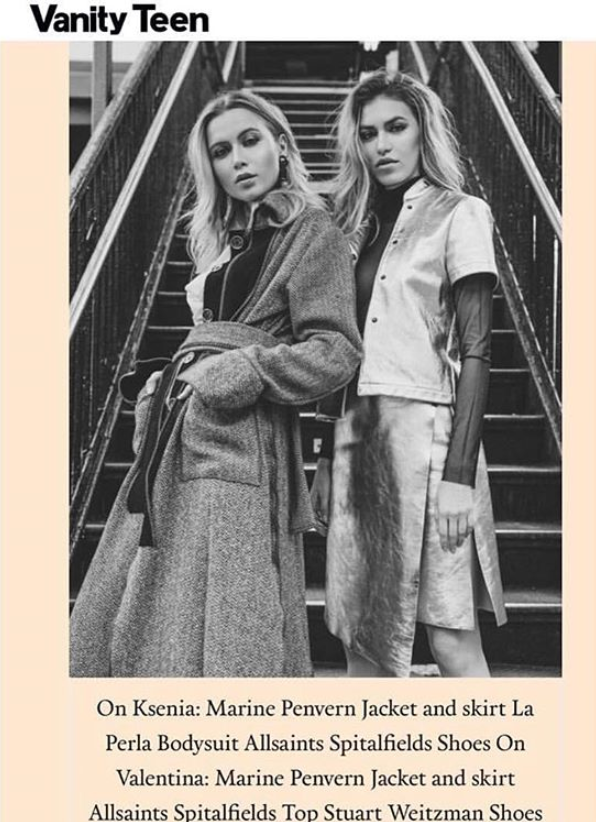Two models in coat and suit by Marine Penvern, Vanity Teen magazine; set in NYC subway station