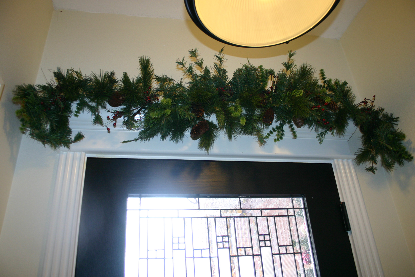 Garland over the front door....