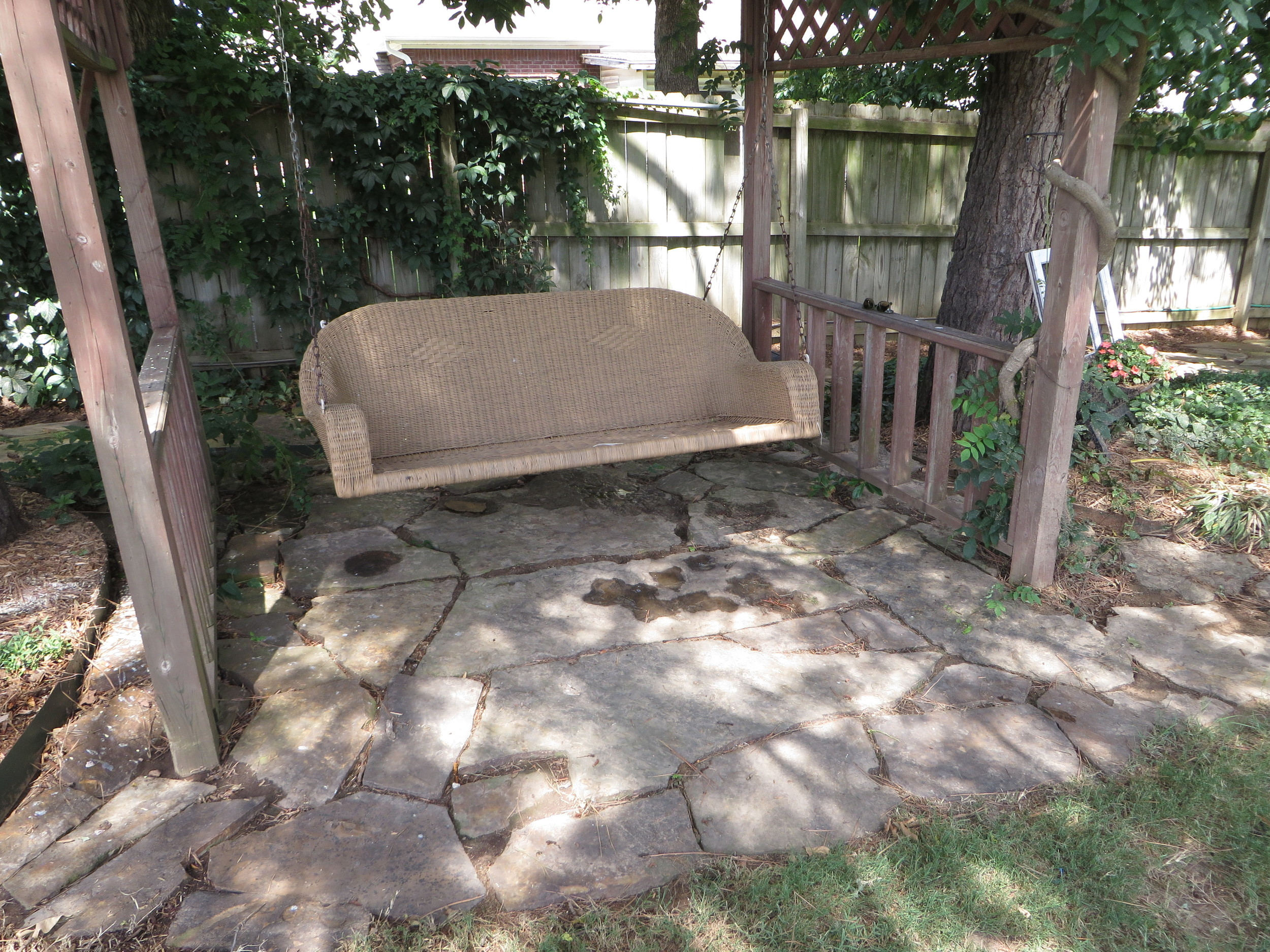 Front yard swing pergola