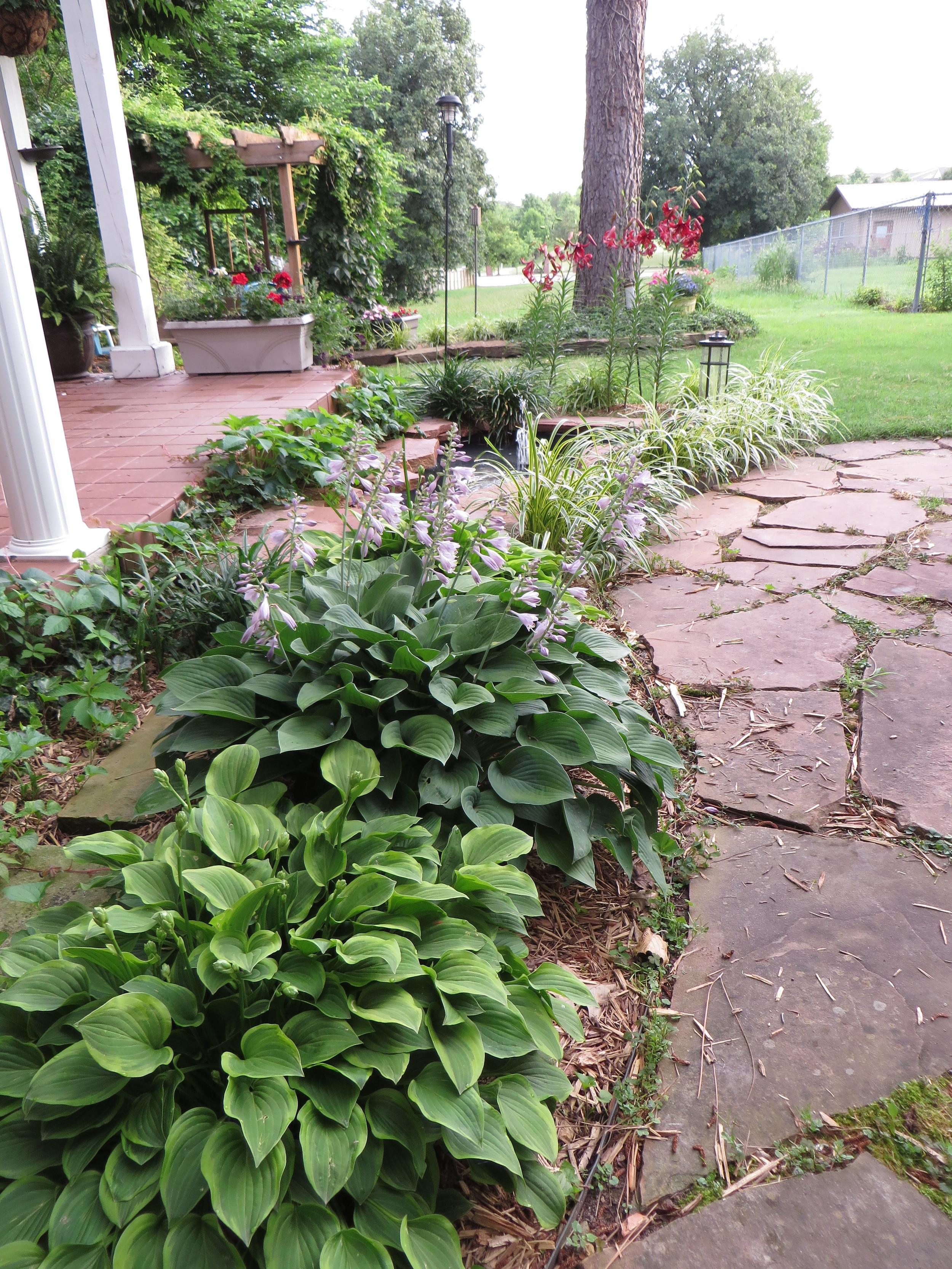 Walk between deck, patio and pond!