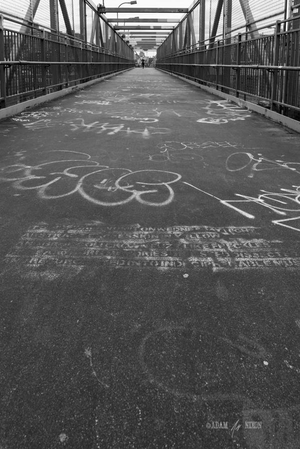 Graffitied walkway on the Williamsburg bridge