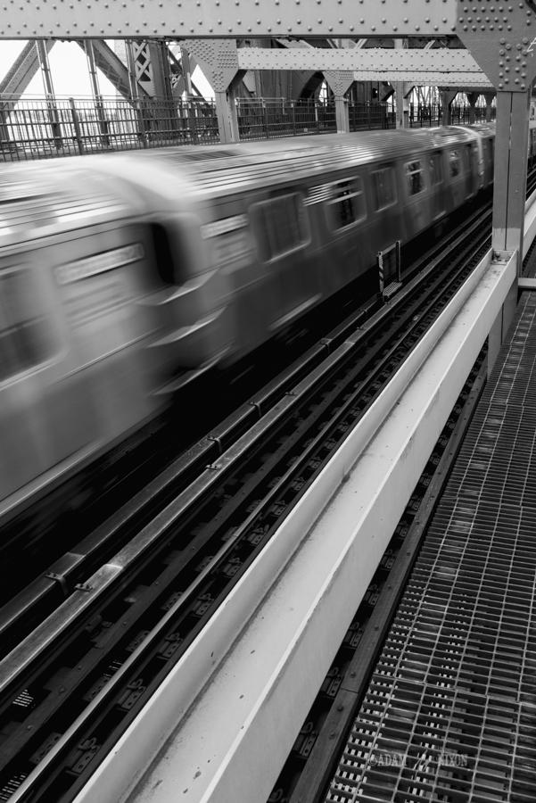Subway train speeding by