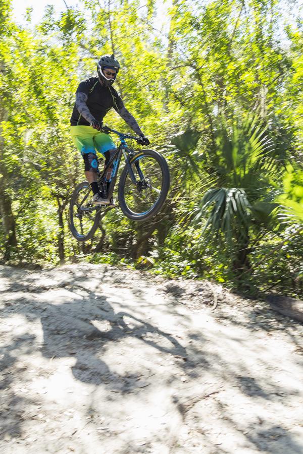 Mountain biker catching air