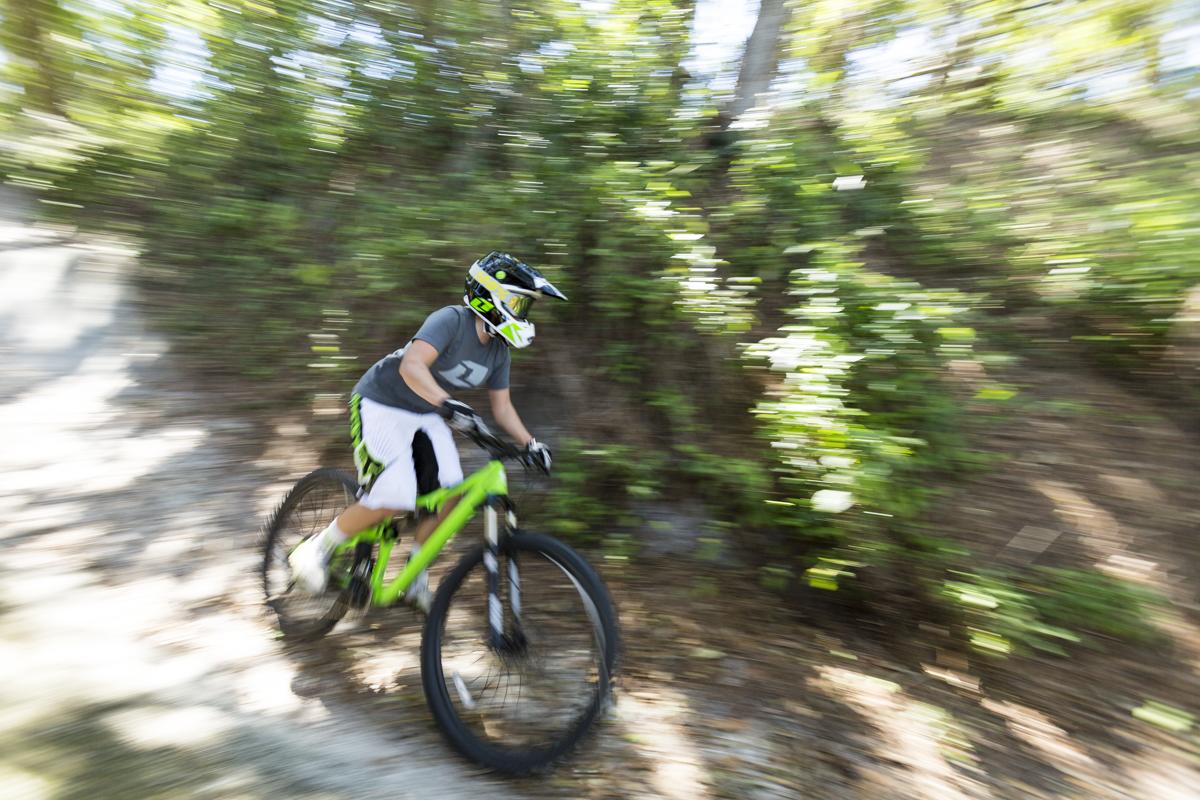 Mountain biker speeding by