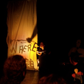 One of two shadow puppet screens used during the presentation of this piece at a Blood From a Turnip