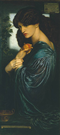 The figure in this painting, called 'Prosperpine,' is the Roman name of the mythological figure Persephone. The artist Dante Gabriel Rossetti painted this in 1874 and the original is housed at  the Tate museum . Symbols contained in the painting include the pomegranate, which signifies captivity and marriage, and the incense-burner, the attribute of a goddess.