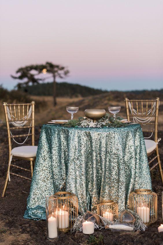 Blue Glitter Tablecloth