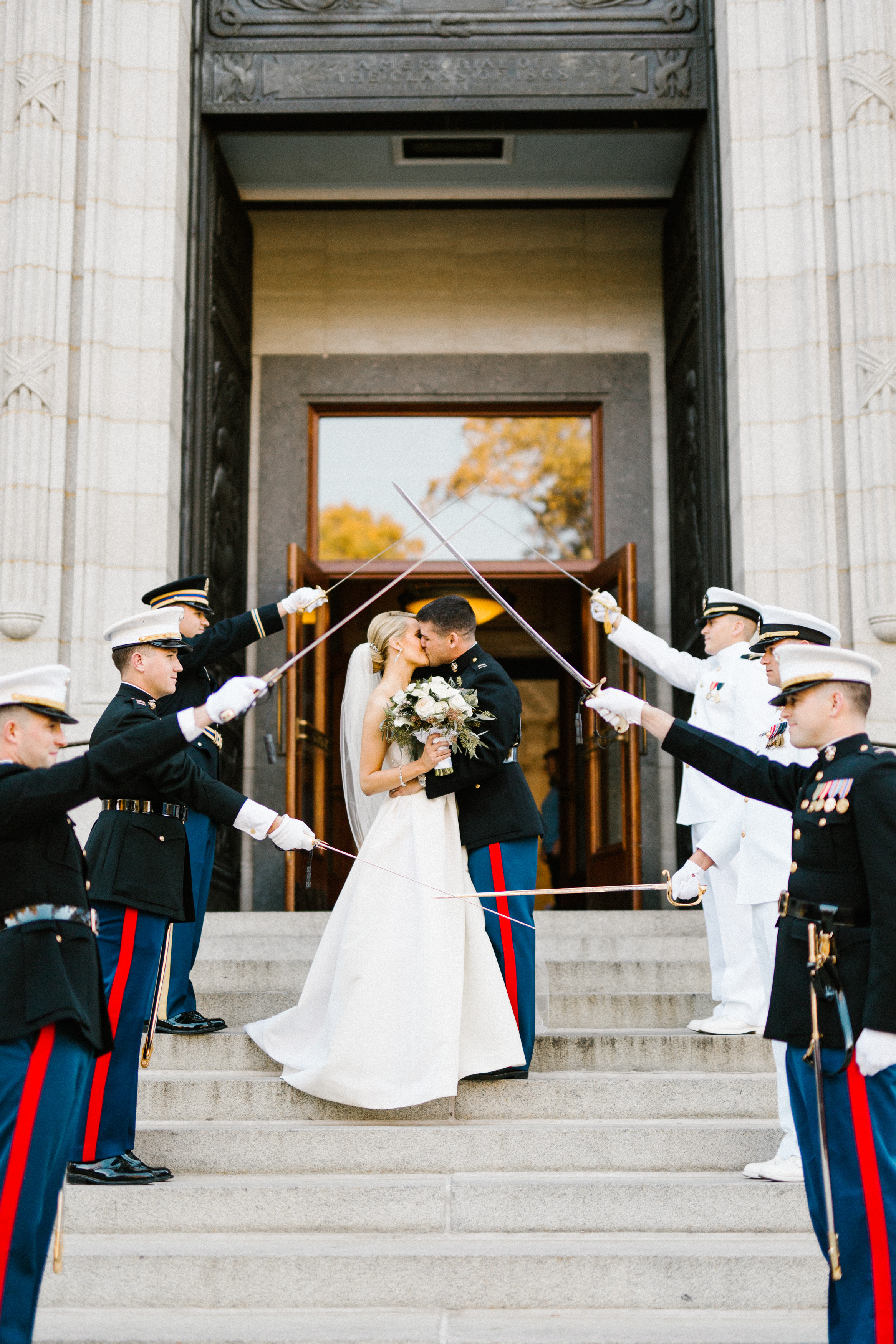 Full Service clients Marissa and Rob's USNA wedding. Wedding Savvy is an approved United States Naval Academy Event Planner.