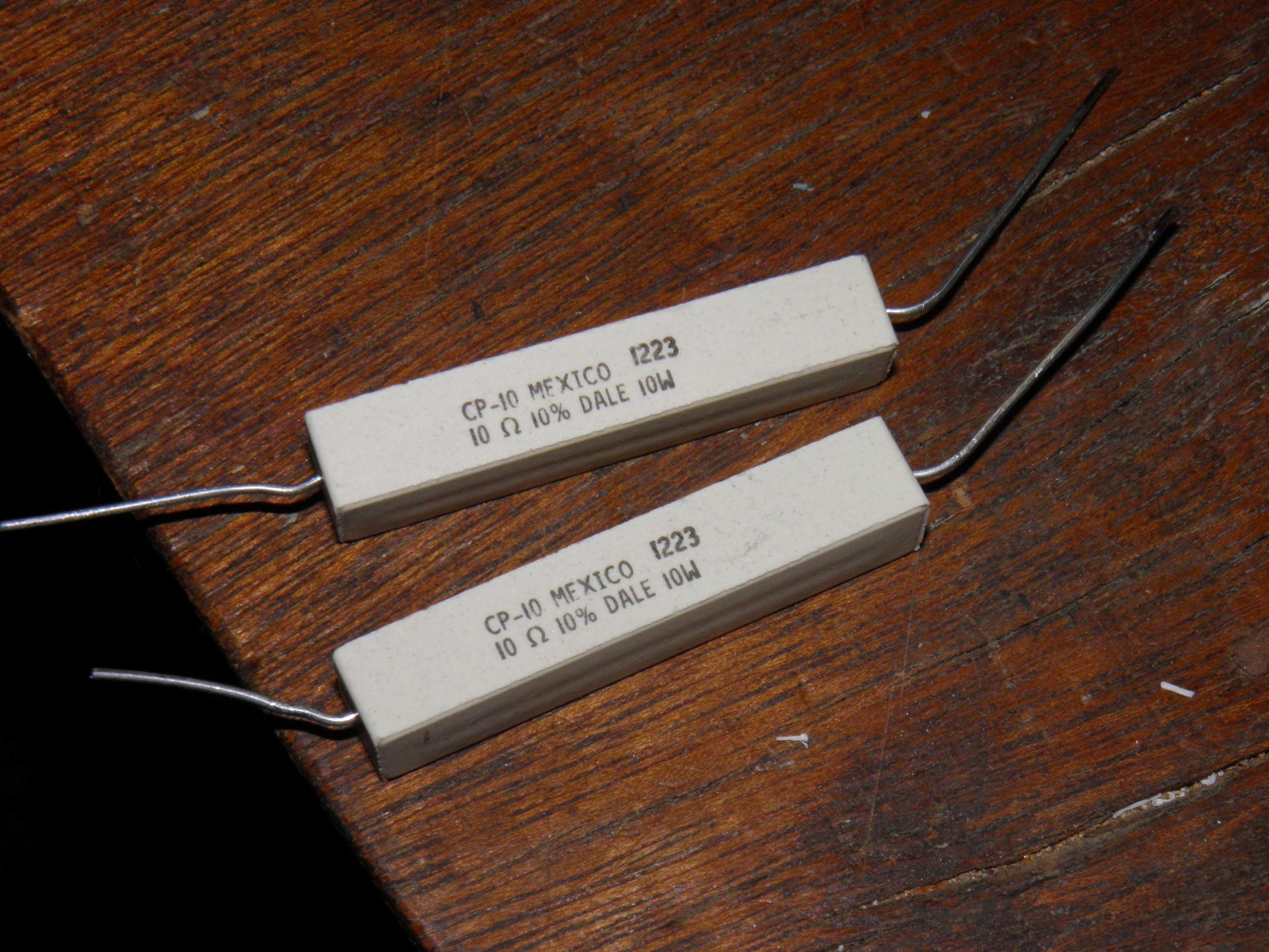 Two 10 Ohm 10 Watt Resistors