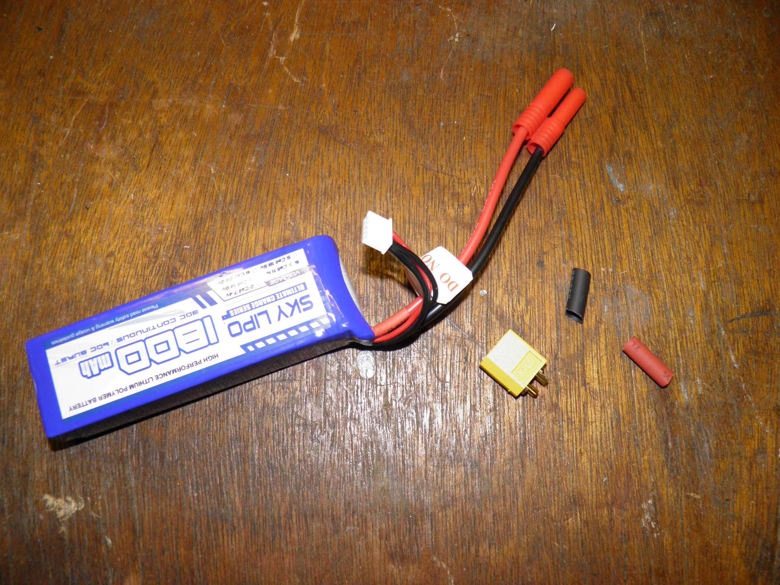 Battery, female xt60 connector, and Heat shrink