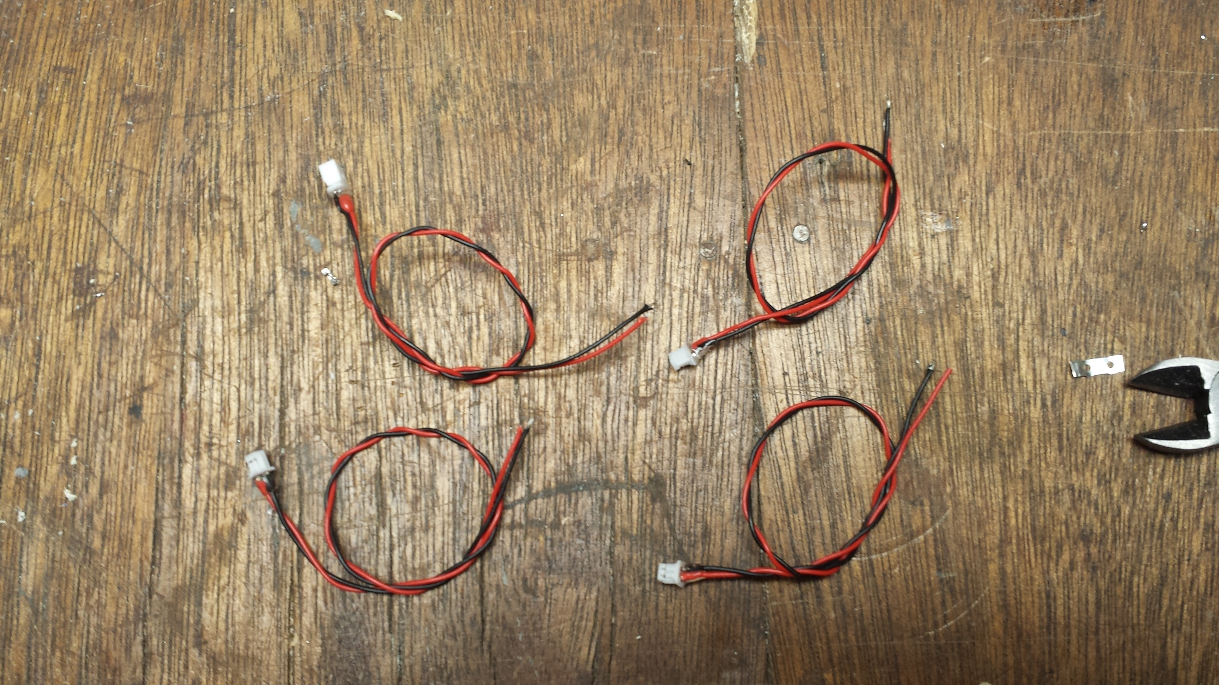 Four Finished Leads with Hot Glue
