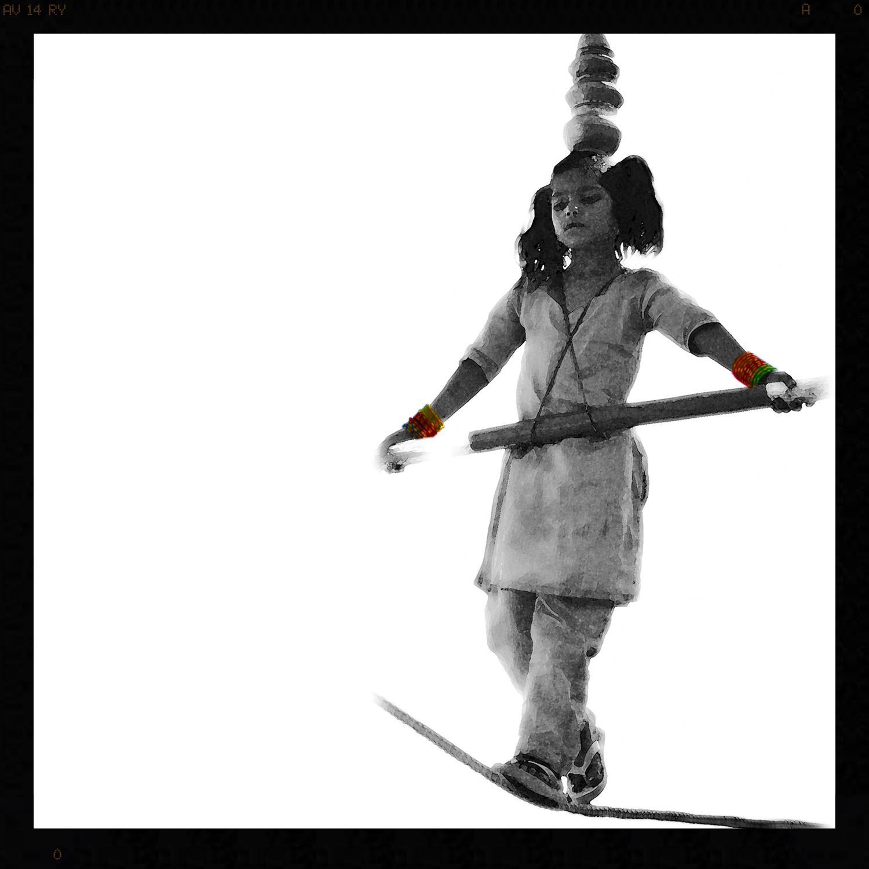 India - Monochrome with a Splash of Colour