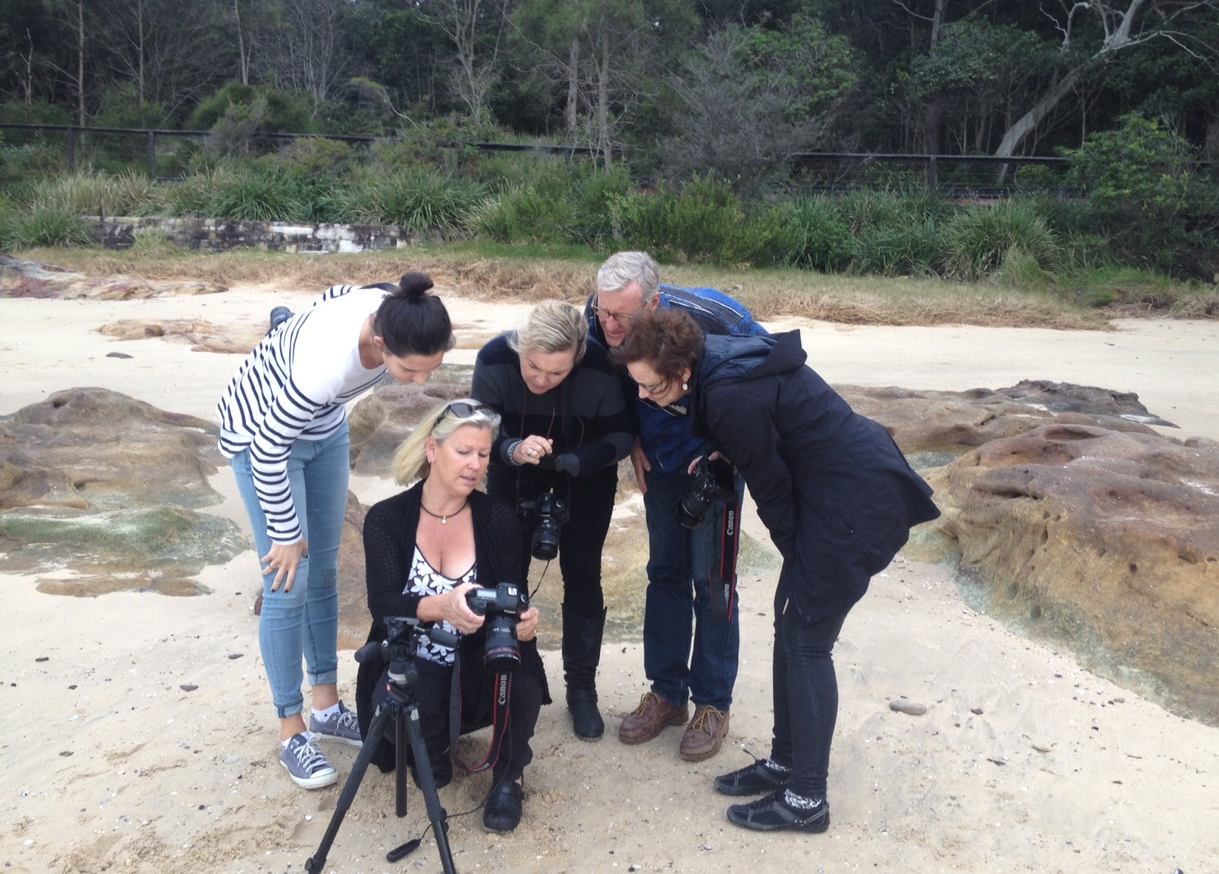 Photography on the beach with some engaged students.