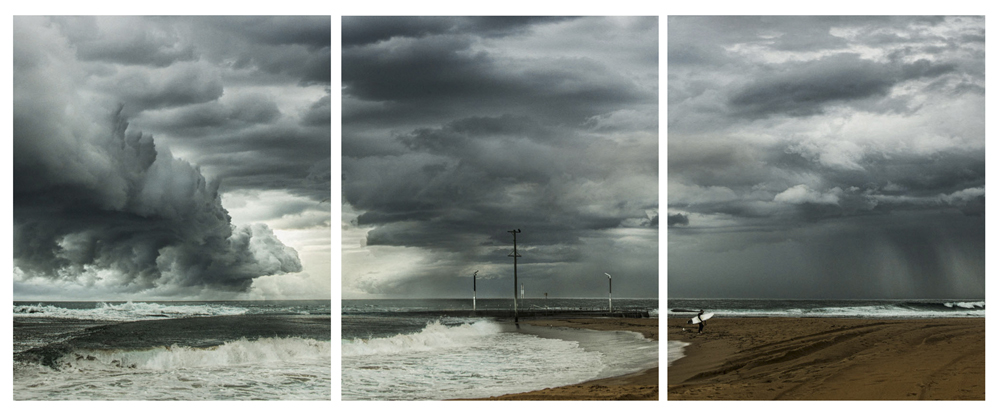 Lone Surfer on Mona Vale Beach Triptych