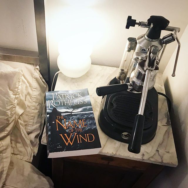 Yes, I keep an espresso machine on my bedside table ☕️ Here are some recent reads: . . The Name of the Wind by Patrick Rothfuss. . . The Changeling by Victor Lavalle. . . Old Filth by Jane Gardam. . . The Slide by Kyle Beachy. . . Always open to some recommendations! Happy reading!! #PatrickRothfuss #VictorLavalle #JaneGardam #KyleBeachy @themostfunthing