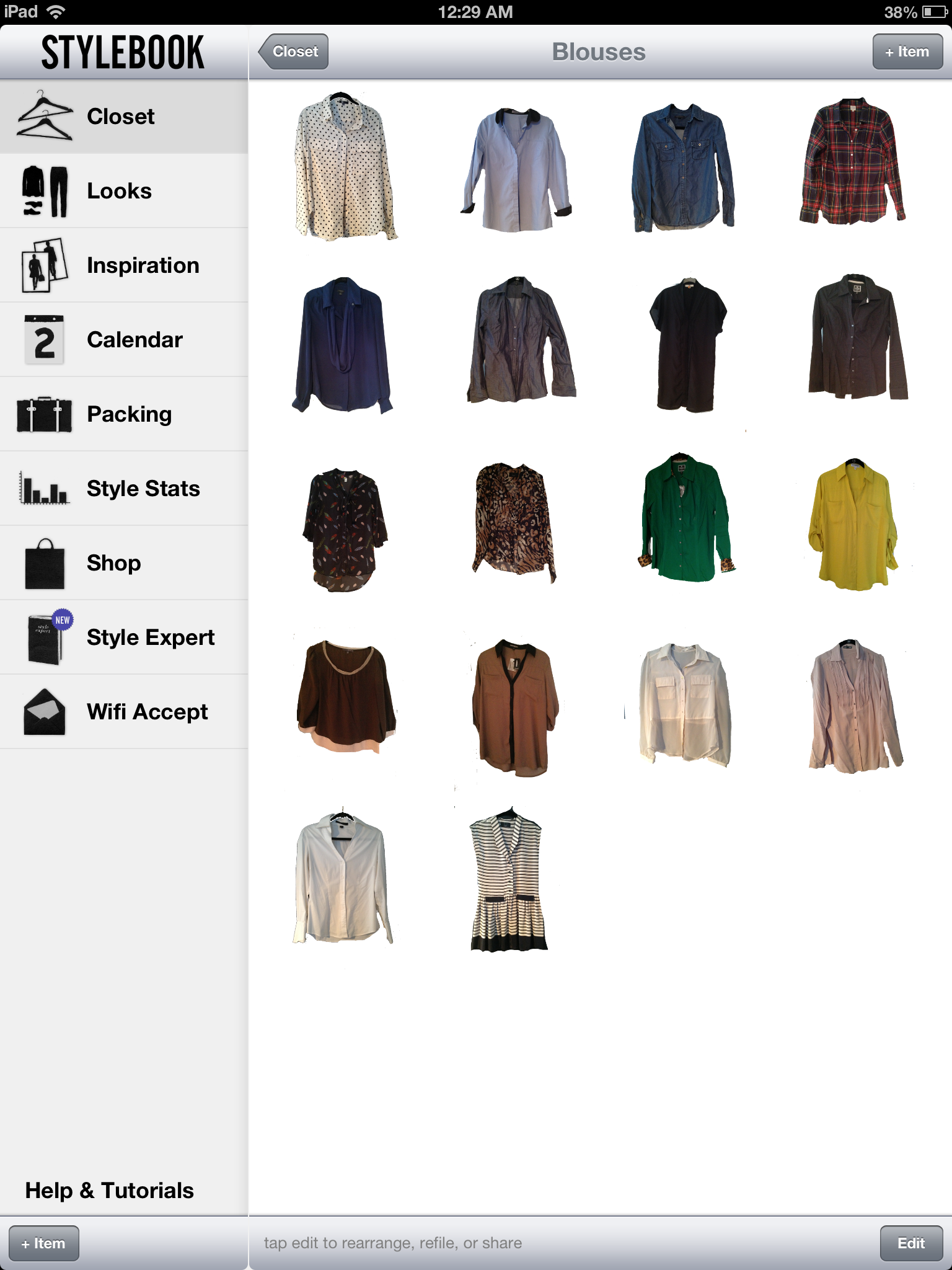 Here is a screenshot of my blouses that I entered into the app. You can add whatever categories that you want and make categories for the looks as well. So that way you can have outfits for work separate from causal or weekend outfits.
