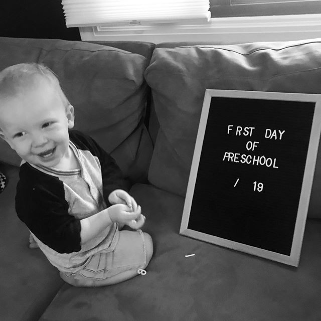 Graham started preschool today! He did awesome and just ran into the room to play when we dropped him off. We attempted a first day photo but he thought it would be more fun to take the letters off and throw them. #grahamcreighton❤️ #gcpgrowingup