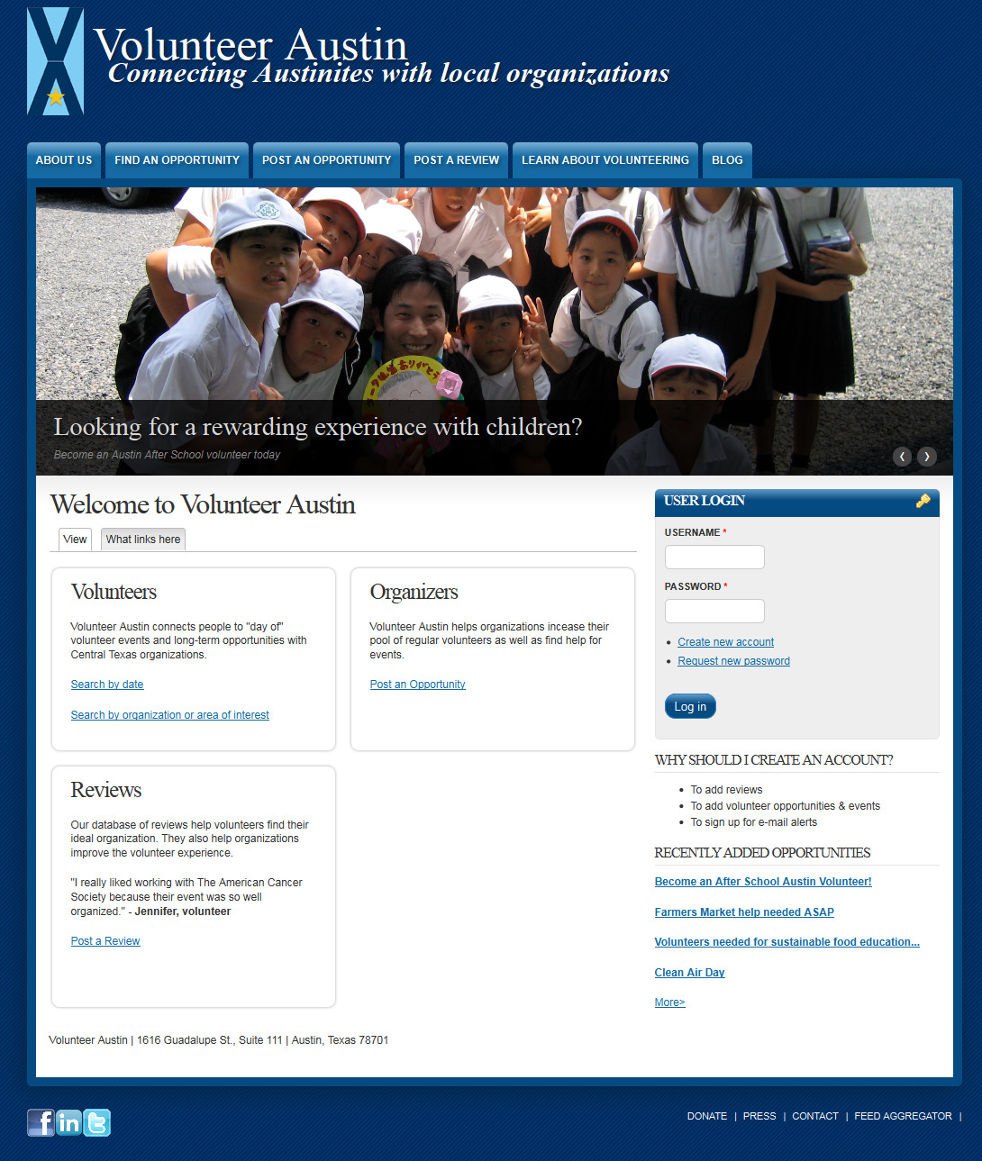Our homepage in Drupal