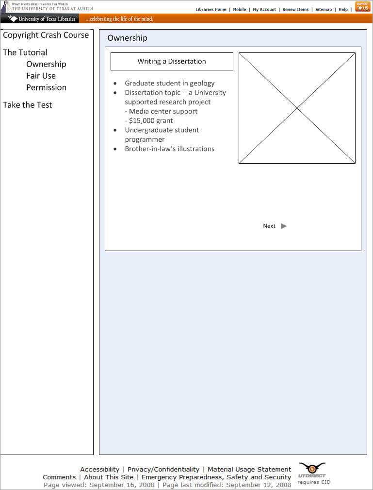 """Wireframe for the """"Ownership"""" subpage"""