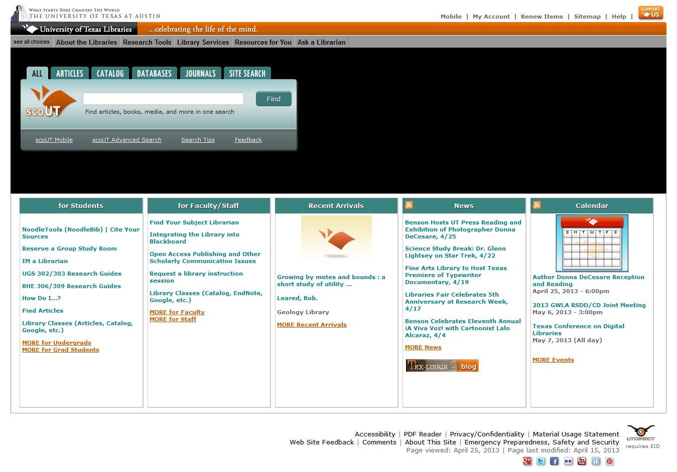 Current UT Libraries website