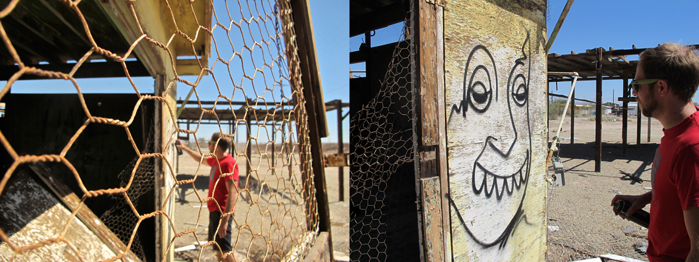 bombay beach is not far from slab city and it too has a post apocalyptic feel that makes spraying some faces on walls without worrying about johnny law questioning your artistic endeavors seem second nature