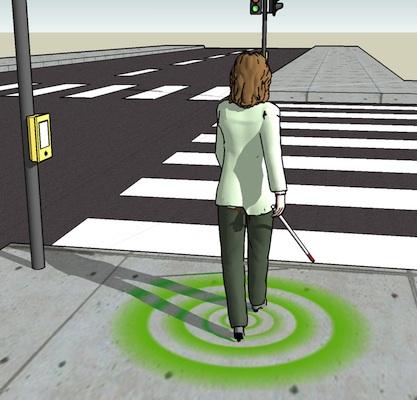 Active haptic information via walking surfaces