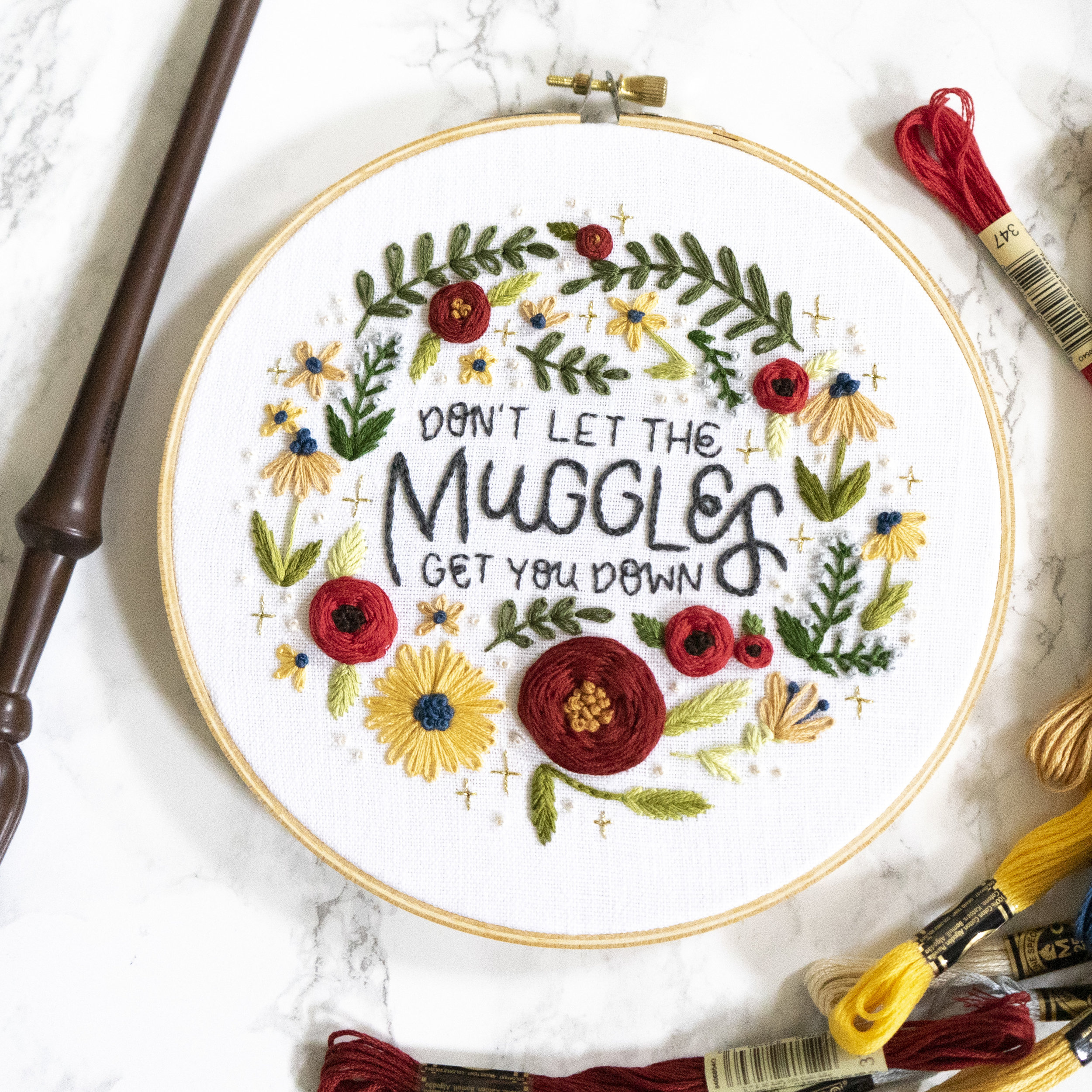 Don't Let the Muggles Get you Down Embroidery Pattern - This hoop is perfect for any magic loving muggle. Click the button below to begin your digital download!GET THE PATTERN