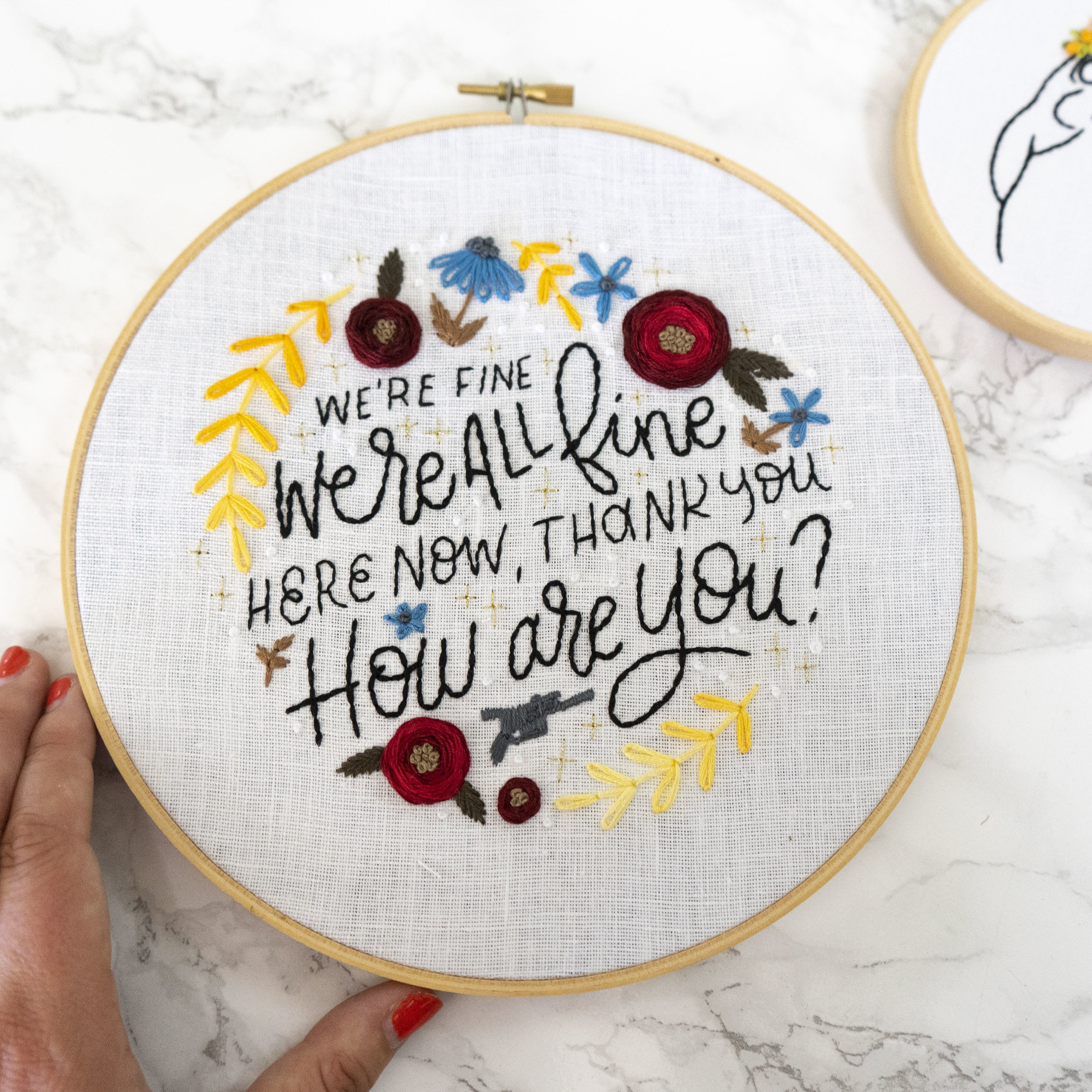 We're All Fine Here Now Embroidery Pattern - This hoop is perfect for any scruffy lookin' nerf herder. Click the button below to begin your digital download!GET THE PATTERN