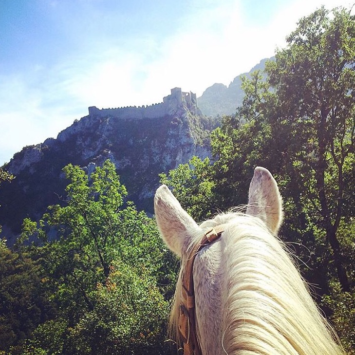 Thanks to 🔷 @farandride 🔷 client, Charlotte, for indulging us with this shot of the Puilaurens castle in the south of France. The first mention of the castle dates from 985 AD, was abandoned at the French Revolution. According to legend, the Dame Blanche, Phillippe The Bold's great niece, appears on clear nights and walks around the dismantled castle walls in her floating veils. ( source:  www.payscathare.org  )  www.farandride.com  ....... Tag your photo #lifebetweentheears for a chance to be featured. Ride On! ^^ ....... #betweentheears #equestriantravel #equestrianadventure #equinephotography #puilaurenscastle #soutoffrance #cathar #thankyou #charlotte #farandride