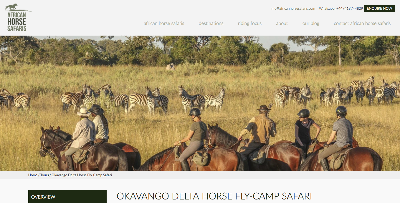African Horse Safaris Okavango Delta Horse Fly Camp Safari