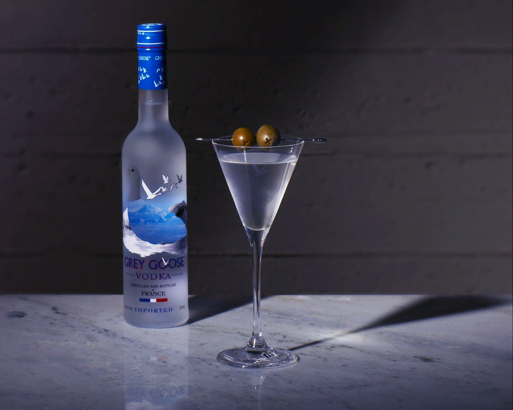 Drink Styling / Lead Drink Stylist:  Kendra Aronson . Client: Grey Goose. Photographer: Todd Perkins. Agency: Publicis Sapient. Location: San Luis Obispo.