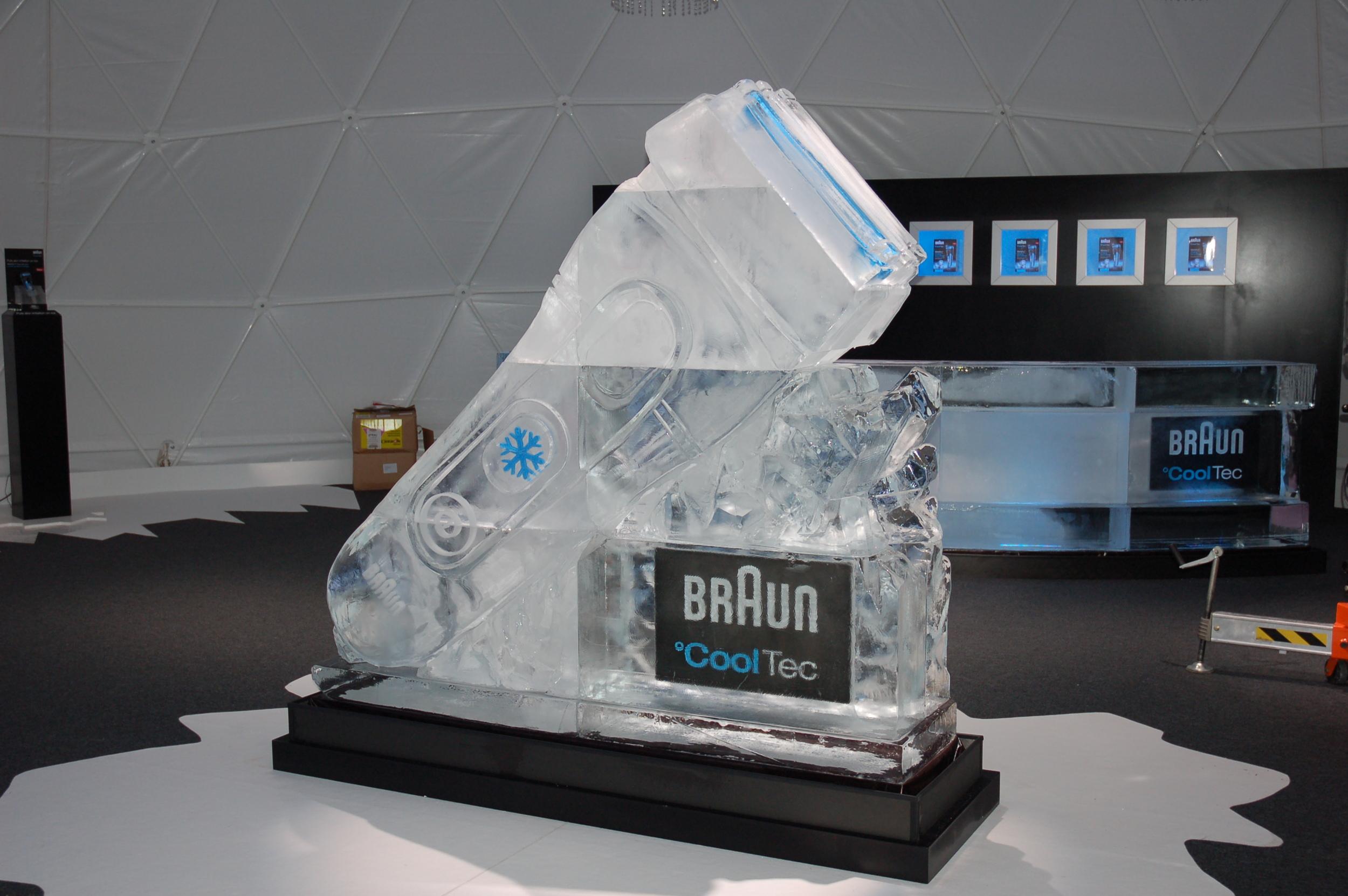 Large Braun Shaver Ice Sculpture