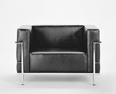 CO41: 927-28  |                                        Le Corbusier                                       Club chair with tubular steel frame in epoxy enamel or polished chrome. Cushions in expanded foam and polyester fiber. Removable upholstery in leather or fabric.