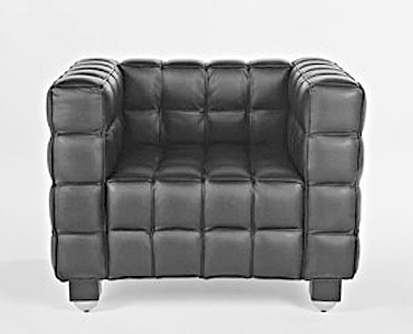 HO31:  1910  |                                      Josef Hoffmann                                       Armchair with hardwood frame covered with expanded foam. Not removable covering in stitched leather squares.
