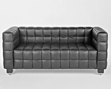 HO32: 1910  |                                      Josef Hoffmann                                       Two-seat sofa with hardwood frame covered with expanded foam. Not removable covering in stitched leather squares.