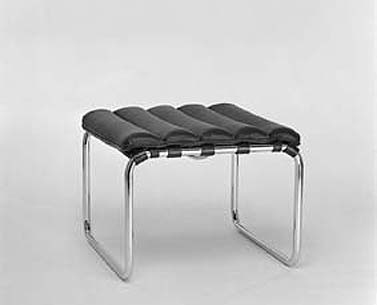 MI16:  1927-32  |                                      Ludwig Mies Van Der Rohe                                      Footstool with frame in chrome plated tubular steel. Suspension in reinforced hide straps. Seat in expanded foam covered with leather.
