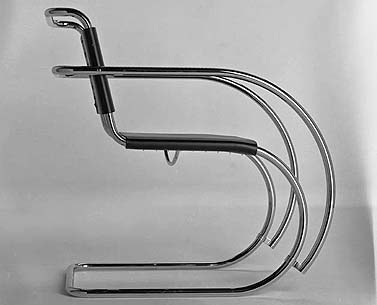 MI15:  1927  |                                      Ludwig Mies Van Der Rohe                  Armchair with tubular steel frame in polished chrome . Seat and back in hide in a variety of colors.
