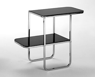 FP19: 1930 ca.  |                                      Paul Theodore Frankl                 Console with chromed squared square steel tube frame. Tops in MDF lacquered bright or matt.