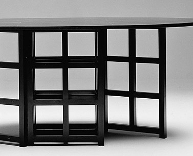 MA09:  1918  |                                      Charles Rennie Mackintosh                                      Table with frame in black lacquered ash with folding top.