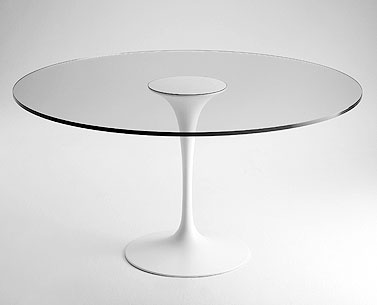 SA59-1:  1958  |                                      Eero Saarinen                 Table, base in cast aluminium lacquered black or white. Glass top 19mm. Steel slab lacquered black or white