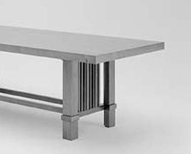 WR09: 1915-25  |                                      Frank LLoyd Wright                                      Table in solid and veneered cherrywood. Available  walnut or black painted.   The table was designed for Henry J. Allen's residence situated in Wichita, Kansas. Austere and monumental, it recalls the tables of the American Arts and Crafts movement.