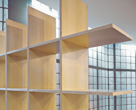 BOOKNET:   1997  |                                       Danilo Marcone                                       Francesco De Agostini                 Bookcase with structure in multijoined embossed lacquered MDF shelves; adjustable feets.