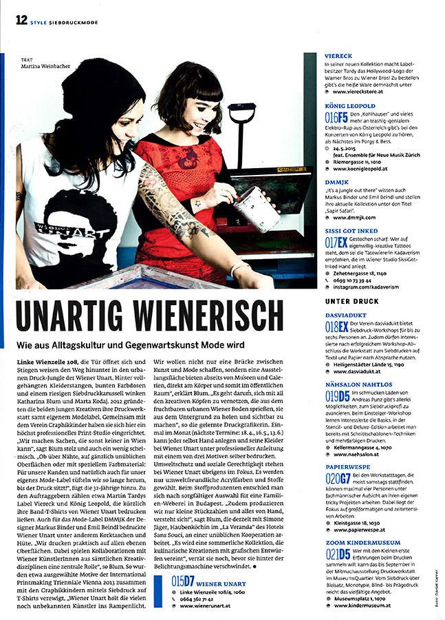 Foto: © Daniel Karner  Katharina Blum und Katharina Trieb beim unartig fröhlichen Siebdrucken!