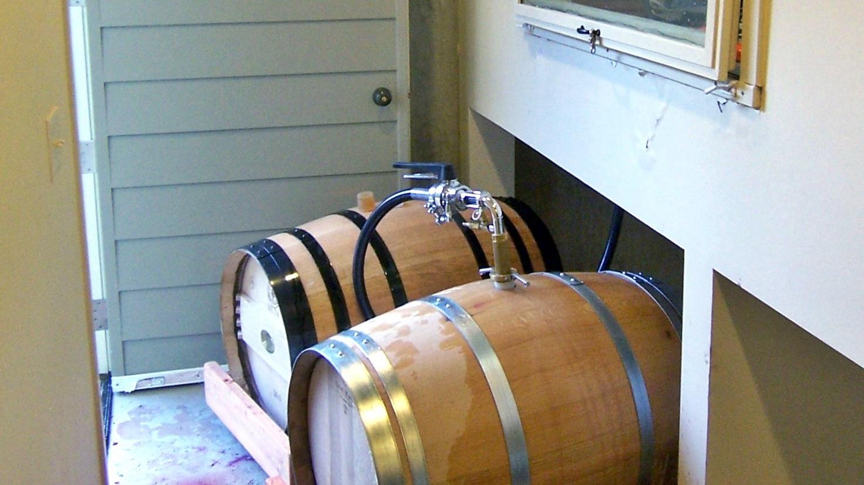 4 Pressed juice is gravity fed into barrel below